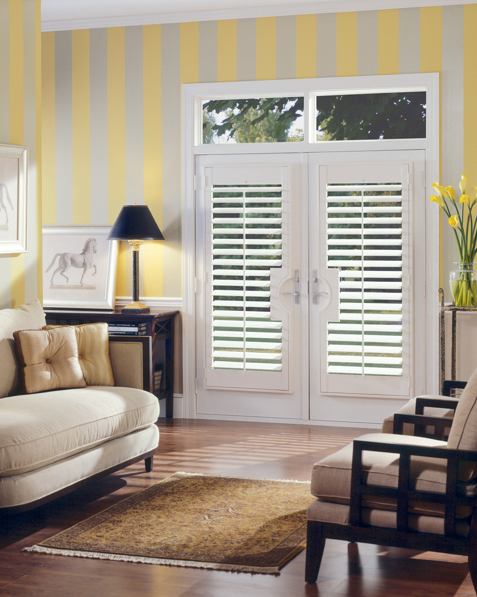 Shutter for french doors j m wheeler window coverings Plantation shutters for doors interior